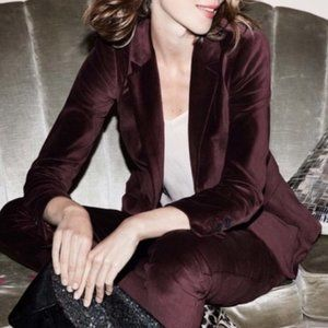 BODEN Velvet Stretch Blazer 12 One Button Jacket